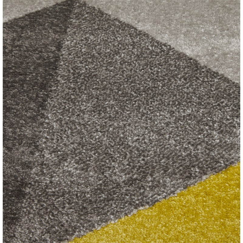 Carpet design rectangular Scandinavian style GEO (230cm X 160cm) (yellow, grey, beige) - image 25594