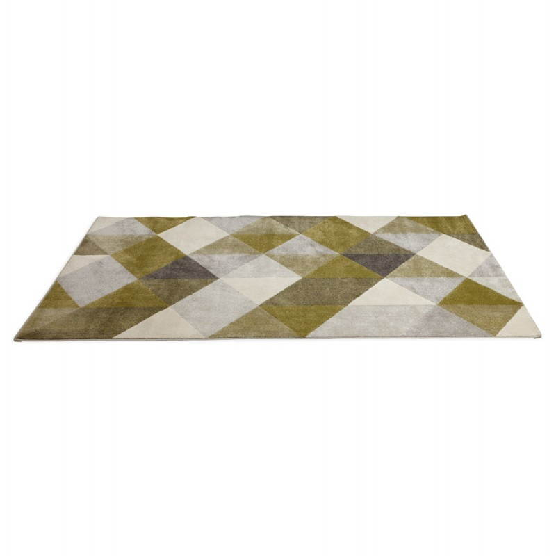 Tapis design style scandinave rectangulaire GEO (230cm X 160cm) (vert, gris, beige) - image 25713