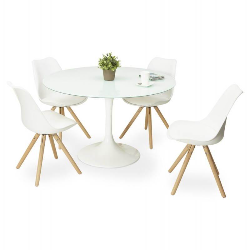 Tavoli Da Pranzo Rotondi In Vetro.Design Tavolo Da Pranzo Rotondo Di Vetro Temperato Bianco Di Mango