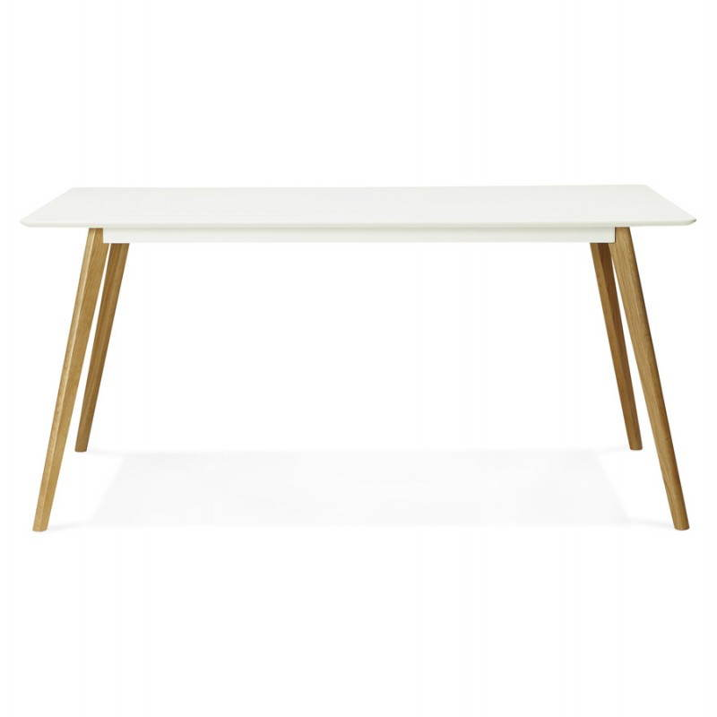 Table manger style scandinave rectangulaire orge en bois for Table scandinave blanc et bois