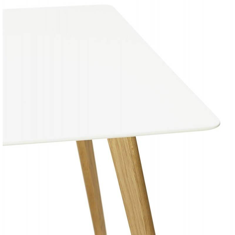 Table à manger style scandinave rectangulaire ORGE en bois (160cmX90cmX75cm) (blanc) - image 25756