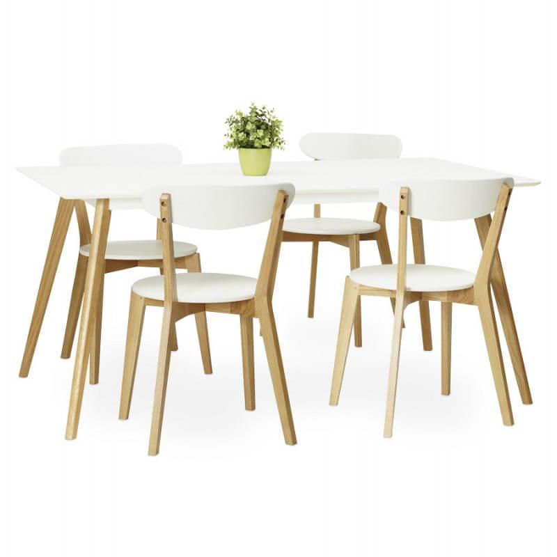 Table à manger style scandinave rectangulaire ORGE en bois (160cmX90cmX75cm) (blanc) - image 25763