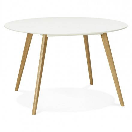 Dining table style Scandinavian round MILLET (Ø 120 cm) (white) wood