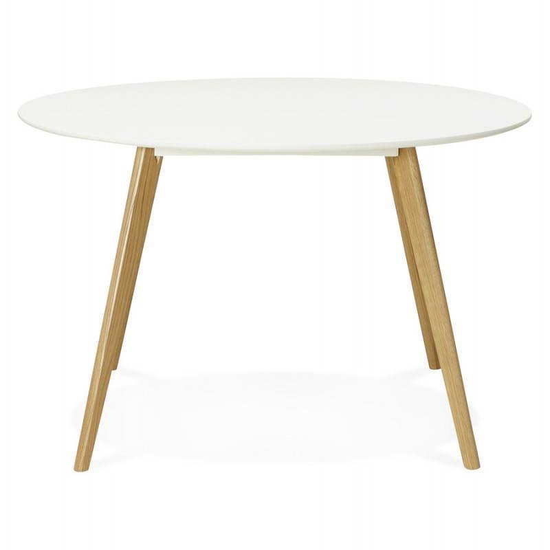 Table à manger style scandinave ronde MILLET en bois (Ø 120 cm) (blanc) - image 25765