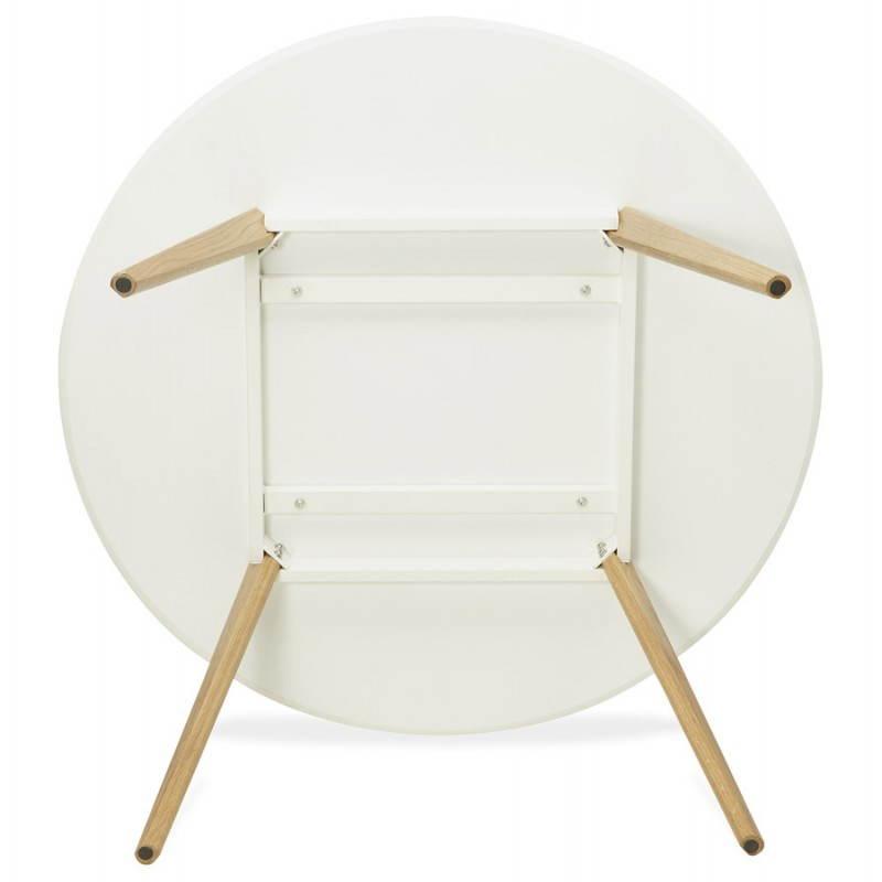 Table à manger style scandinave ronde MILLET en bois (Ø 120 cm) (blanc) - image 25773