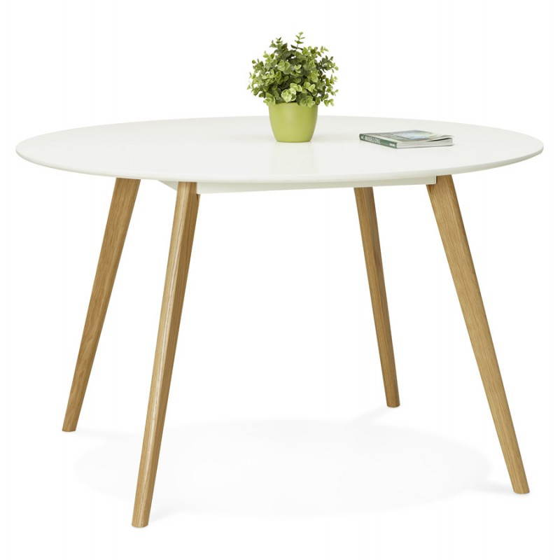Table manger style scandinave ronde millet en bois for Table scandinave blanc et bois