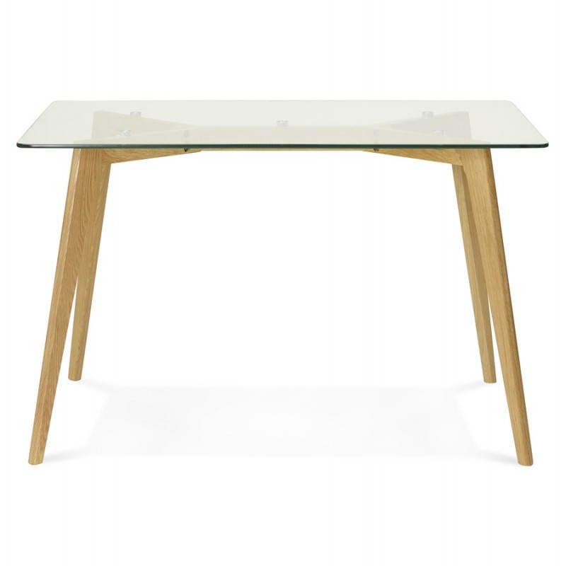 Table à manger style scandinave rectangulaire VARIN en verre (120cmX80cmX75cm) - image 25776