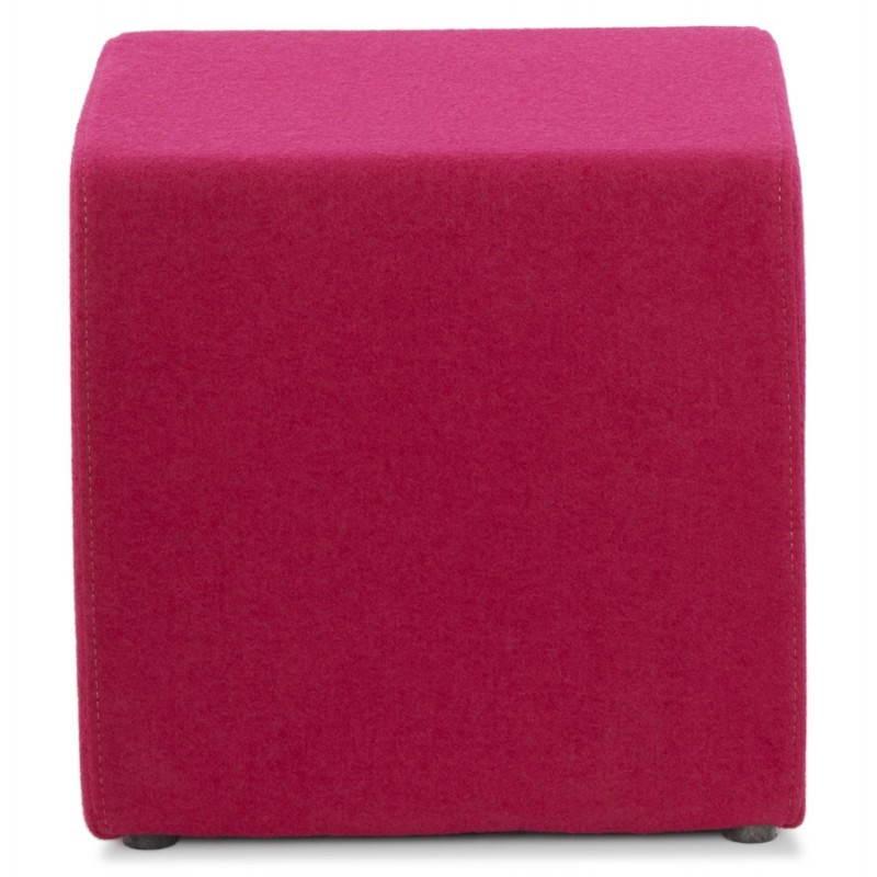 Pouf carré BARILLA en tissu (fushia) - image 25790