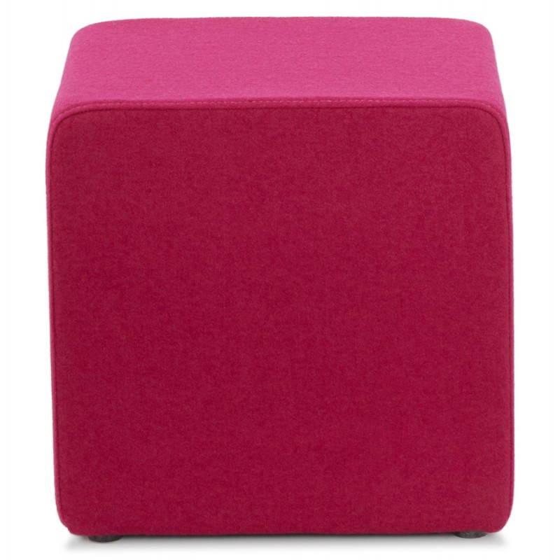 Pouf carré BARILLA en tissu (fushia) - image 25791