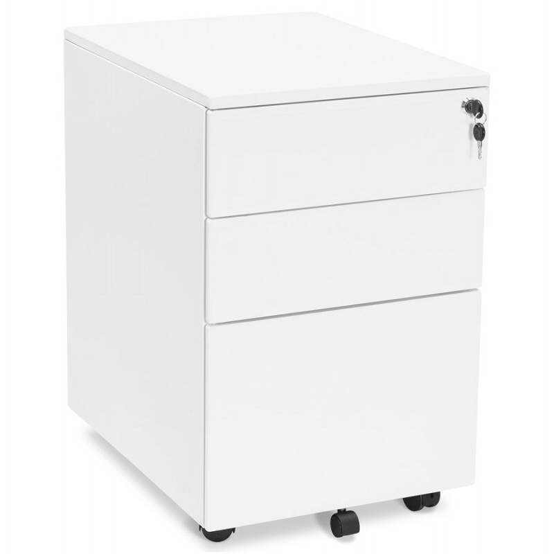 Caisson de bureau design 3 tiroirs mathias en m tal blanc - Caisson bureau design ...