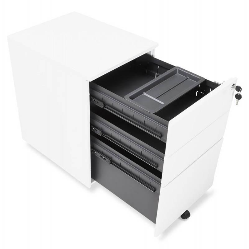 Caisson de bureau design 3 tiroirs MATHIAS en métal (blanc) - image 25936