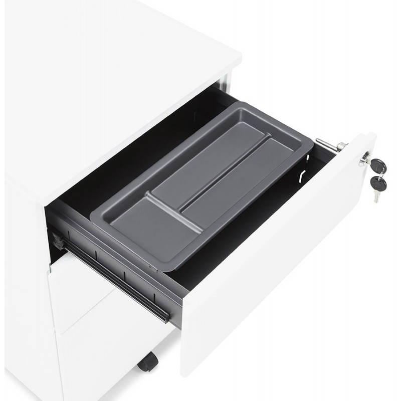 Caisson de bureau design 3 tiroirs MATHIAS en métal (blanc) - image 25940
