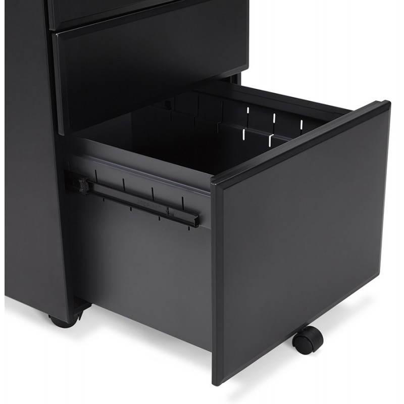 Caisson de bureau design 3 tiroirs MATHIAS en métal (noir) - image 25960