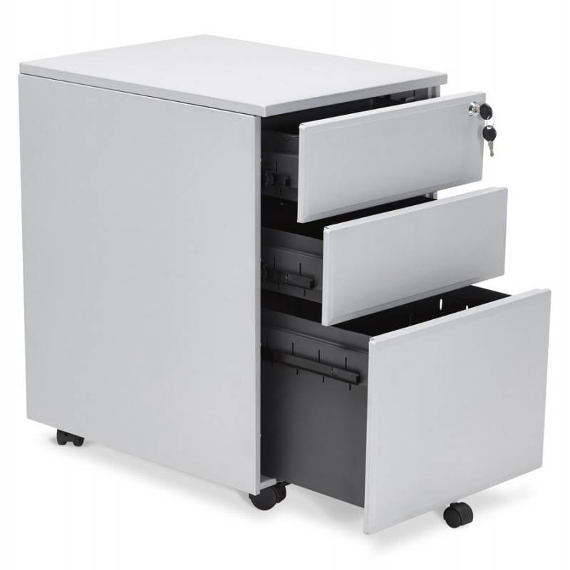 Caisson de bureau design 3 tiroirs MATHIAS en métal (gris) - image 25968