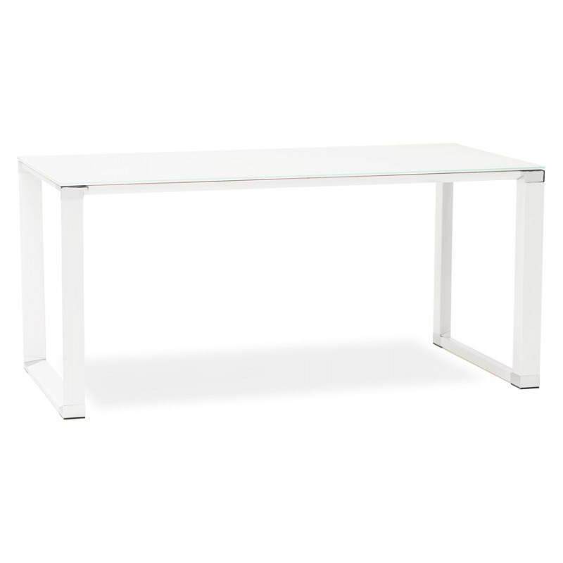 Bureau droit design BOIN en verre trempé (blanc) - image 26011