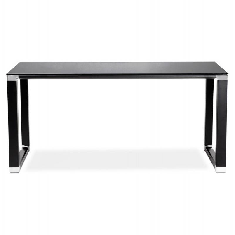 Bureau droit design boin en verre tremp noir for Bureau en verre design