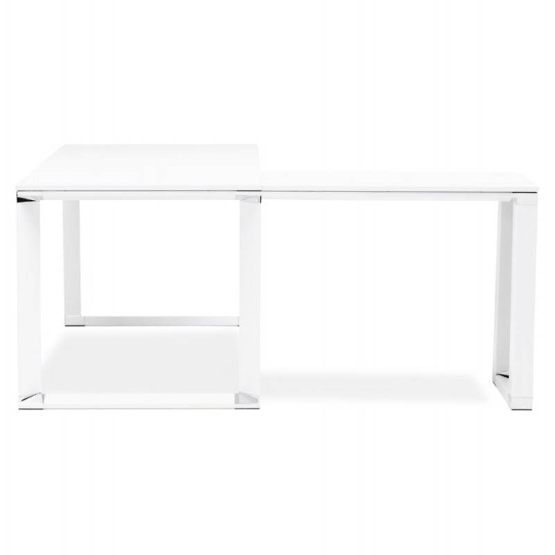 bureau d 39 angle design corporate en bois blanc. Black Bedroom Furniture Sets. Home Design Ideas