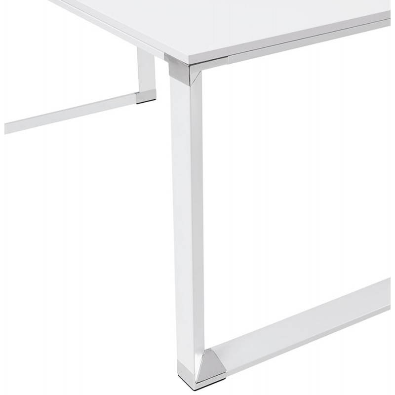 Bureau d 39 angle design corporate en bois blanc for Bureau en bois blanc