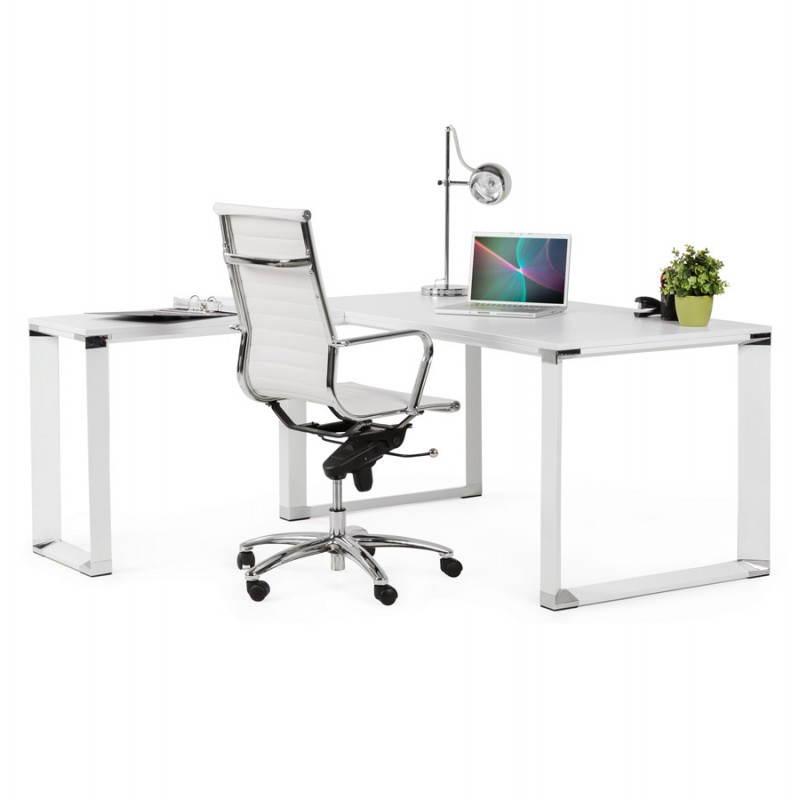 Bureau d'angle design CORPORATE en bois (blanc) - image 26083