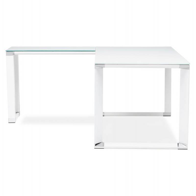 Bureau d 39 angle design master en verre tremp blanc - Bureau verre design contemporain ...