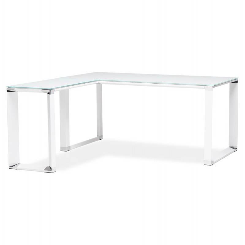 Bureau d'angle design MASTER en verre trempé (blanc) - image 26097