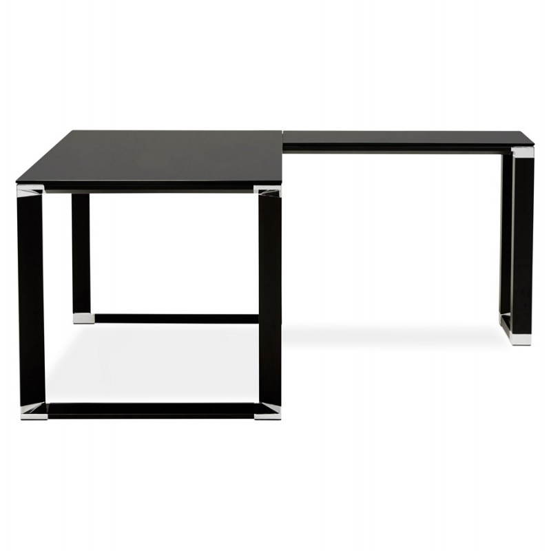 bureau d 39 angle design master en verre tremp noir. Black Bedroom Furniture Sets. Home Design Ideas