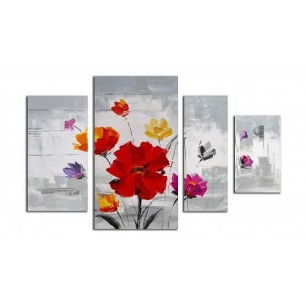 Cuadro pintura floral COSMOS