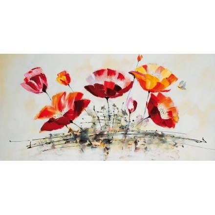 Tableau peinture florale OEUILLET