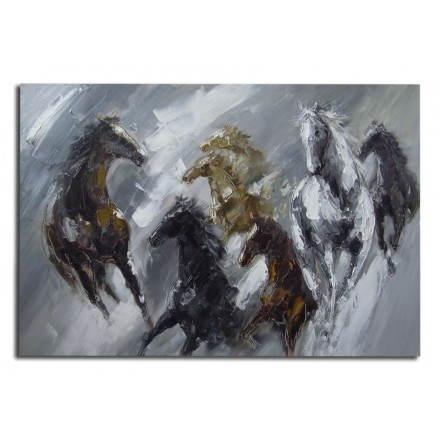 Caballos contemporáneos figurativos de la pintura tabla