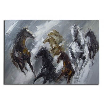 Table painting figurative contemporary horses