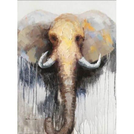 Tabella di pittura figurativa contemporanea elefante