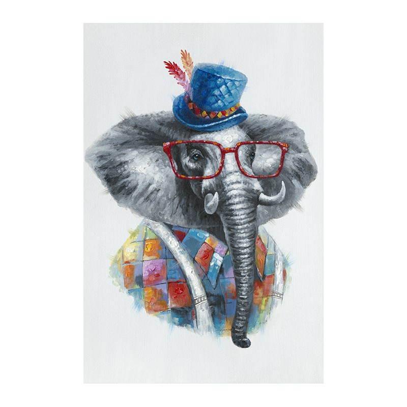 Tabella Di Pittura Figurativa Contemporanea Elefante Colore Moderni Dipinti Figurativi
