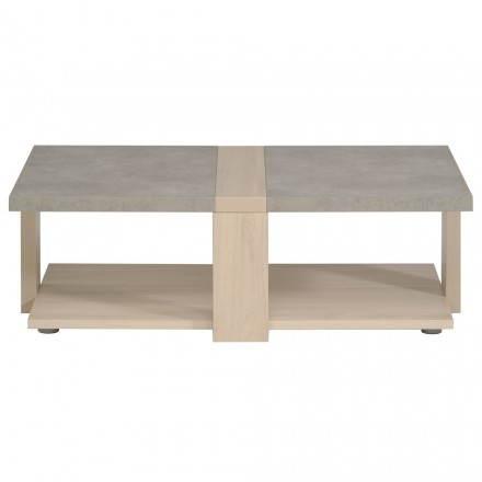 Table basse design industriel GAILLON (chêne, béton clair)