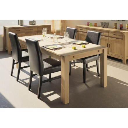Table design with 2 extensions HALLES (beige finish oiled)