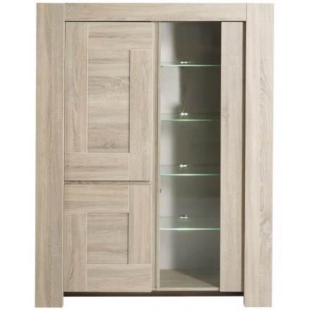 Vitrine vaisselier 2 portes design AUTEUIL (chêne brut)