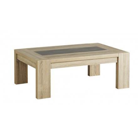 Tavolino rettangolare design AUTEUIL (rovere grezzo, cemento)