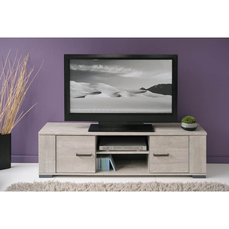 meuble bas tv contemporain odeon gris loft gris ombre. Black Bedroom Furniture Sets. Home Design Ideas