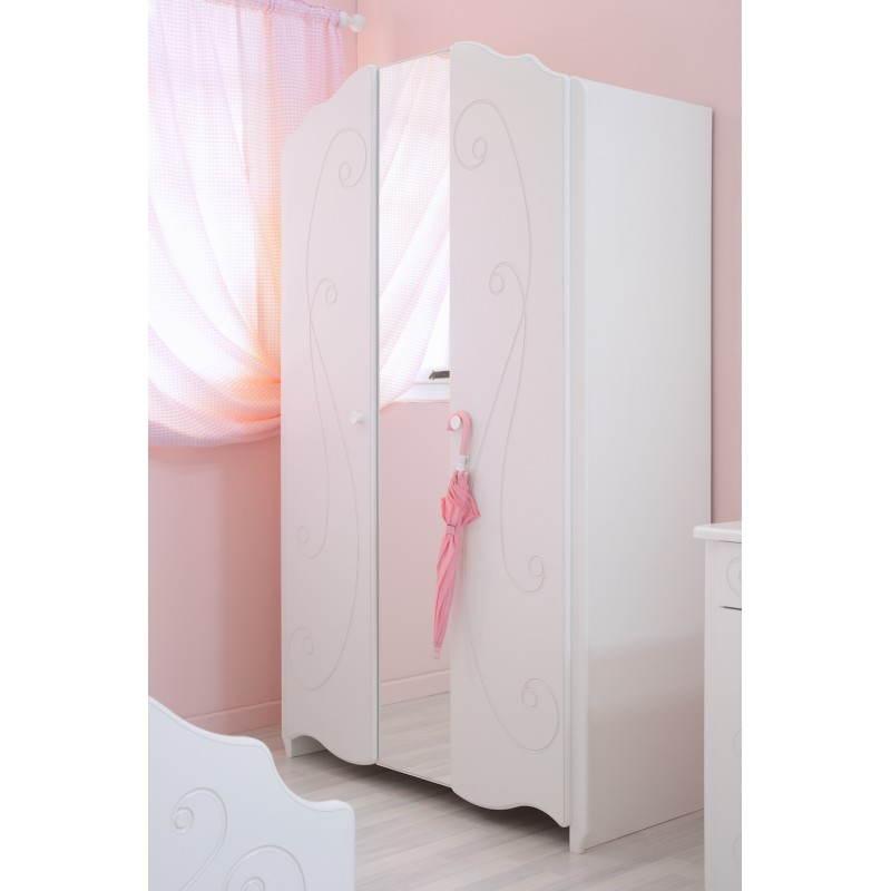 Armoire fille 2 portes style romantique altesse blanc - Armoire style romantique ...