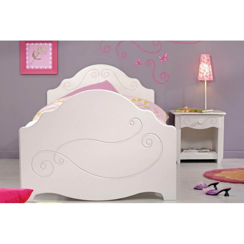 Lit junior fille 90x190 cm style romantique altesse blanc - Bureau style romantique blanc ...