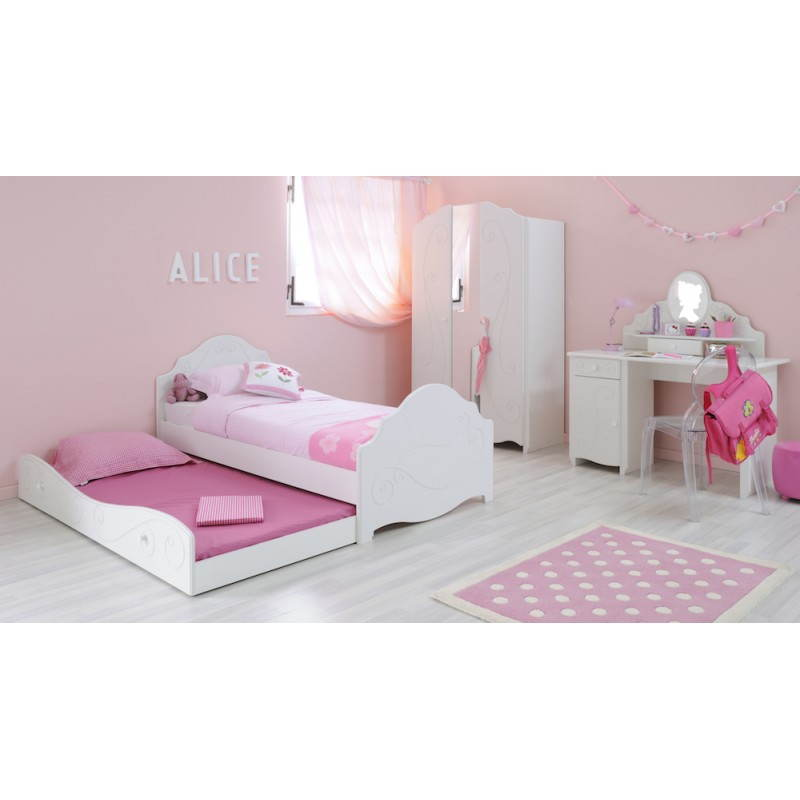 Lit junior fille 90x190 cm style romantique altesse blanc for Lit chambre fille