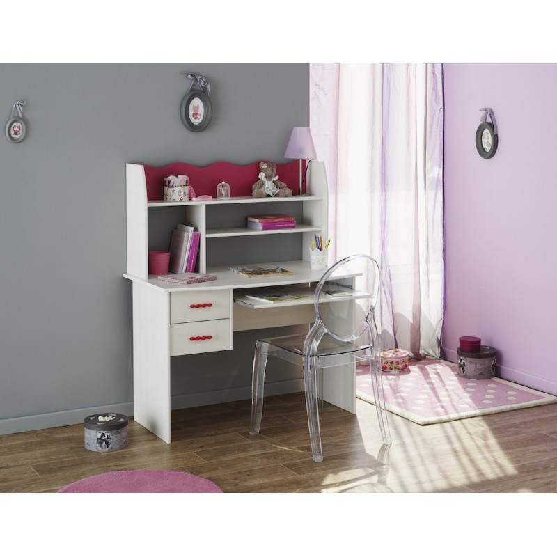bureau fille style romantique cloe blanc rose. Black Bedroom Furniture Sets. Home Design Ideas