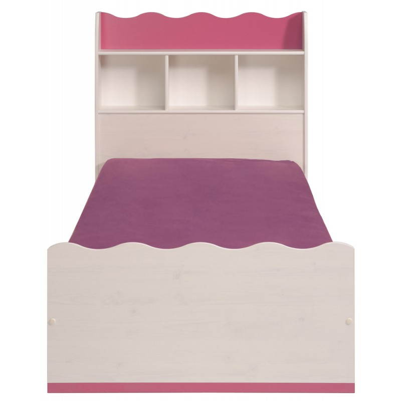 lit fille 90x190 style romantique cloe blanc rose. Black Bedroom Furniture Sets. Home Design Ideas