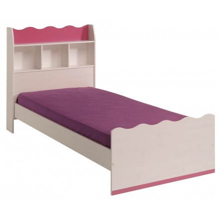 bed 90 x 190 romantic style cloe white pink girl beds drawers bedside tables - Lit Fille