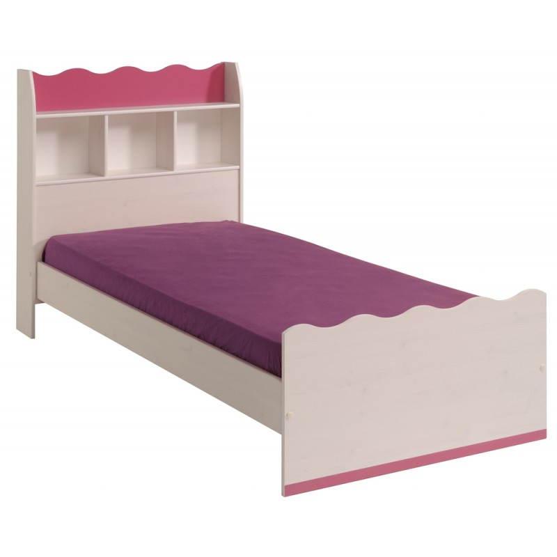 Cama 90 X 190 romántico estilo CLOE (blanco, rosa) de niña