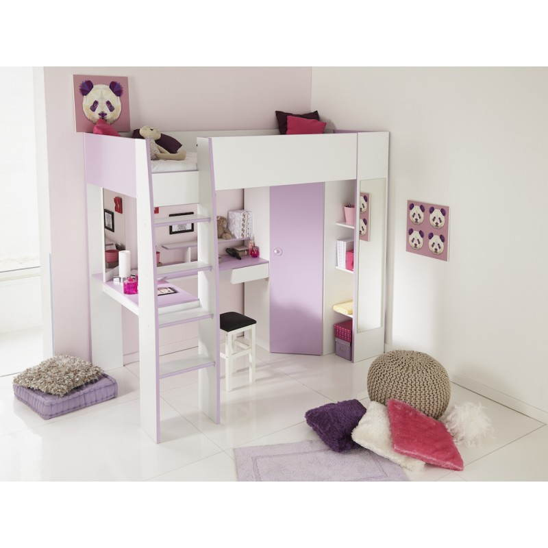 lit combin sur lev fille 1 personne style romantique flores blanc lilas. Black Bedroom Furniture Sets. Home Design Ideas