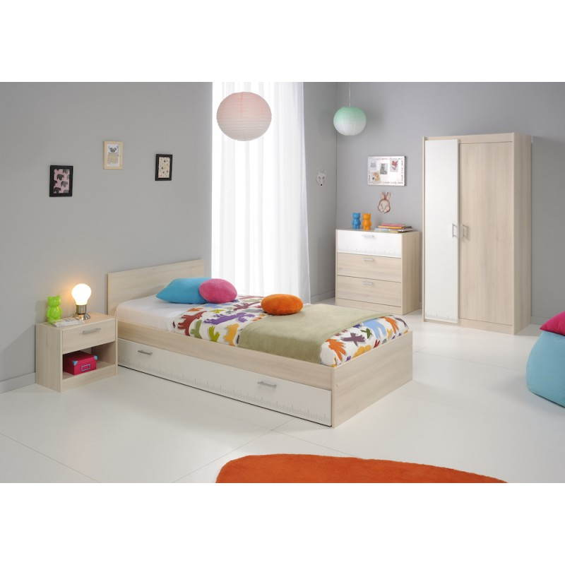 Commode design 3 tiroirs junior fille gar on alex blanc - Chambre junior garcon ...