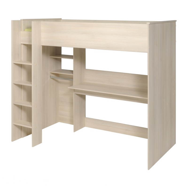 lit sur lev avec bureau et penderie junior fille gar on design sacha beige acacia clair. Black Bedroom Furniture Sets. Home Design Ideas