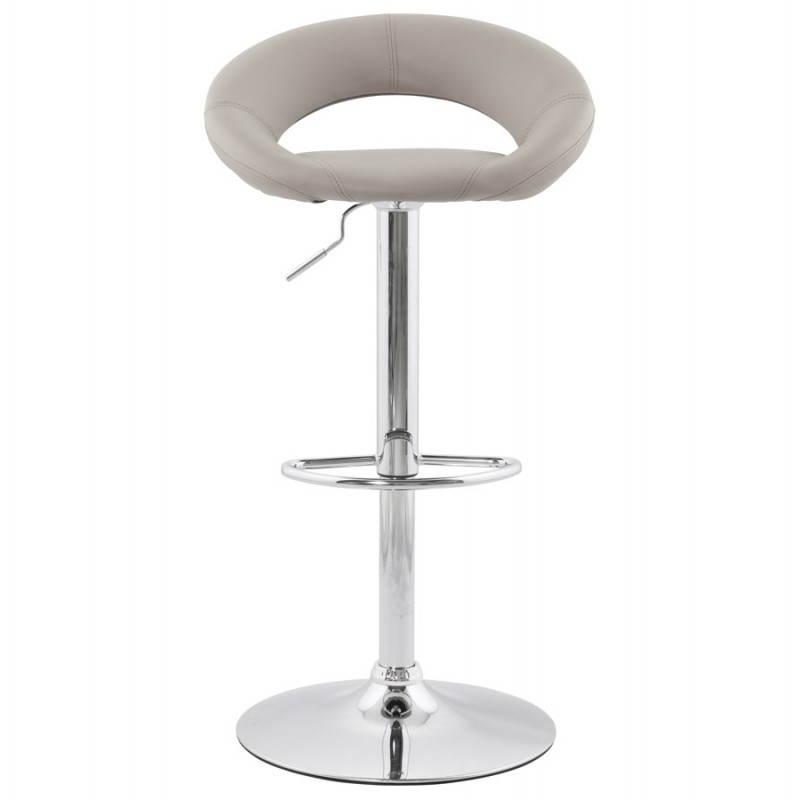 Tabouret de bar rond contemporain rotatif et réglable IRIS (gris clair) - image 27491
