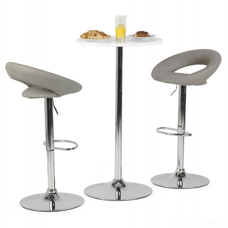 Tabouret de bar rond contemporain rotatif et r glable iris gris clair for Tabouret bar contemporain