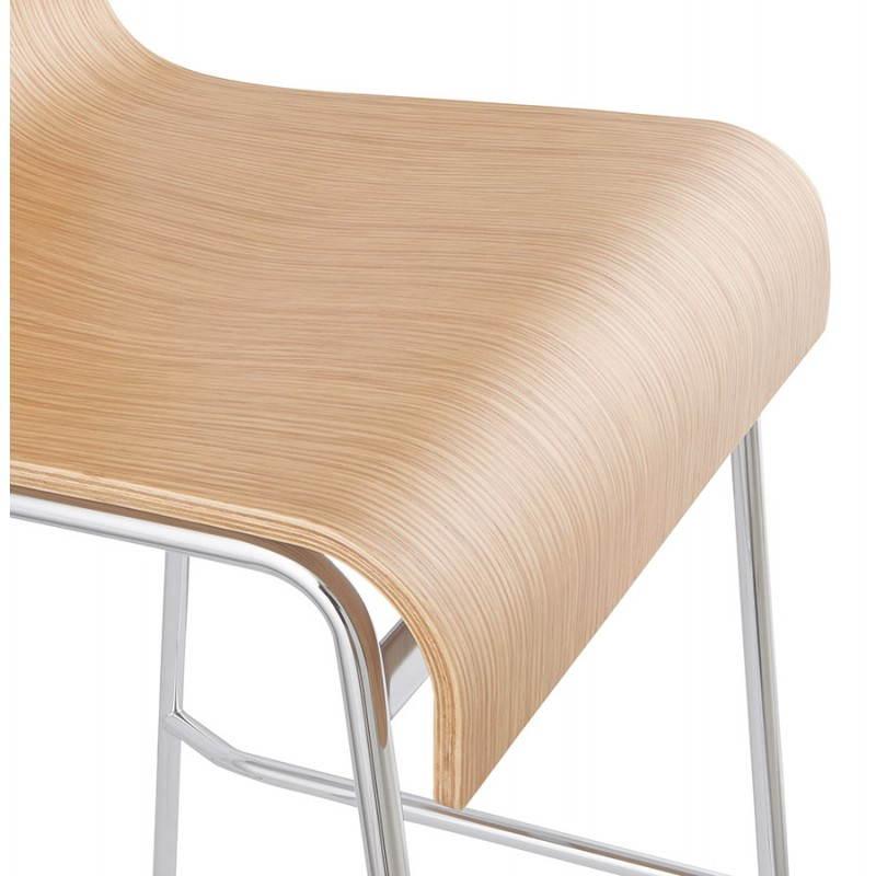 Tabouret de bar design saone en bois et m tal chrom naturel - Tabouret de bar bois et metal ...